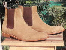 Load image into Gallery viewer, Handmade Olive Green Chelsea Suede Boot - leathersguru