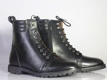 Load image into Gallery viewer, Bespoke Black Leather Side Zip Ankle Cap Toe Lace Up Boot - leathersguru