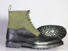 Load image into Gallery viewer, Bespoke Olive Green Black Leather Suede High Ankle Wing Tip  Boots - leathersguru