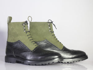 Bespoke Olive Green Black Leather Suede High Ankle Wing Tip  Boots - leathersguru