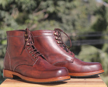 Load image into Gallery viewer, Bespoke Burgundy Leather High Ankle Lace Up Boots - leathersguru