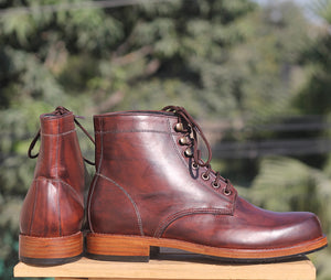 Bespoke Burgundy Leather High Ankle Lace Up Boots - leathersguru