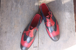 Two Tone Wing tip Brogue Leather Shoes For Men's - leathersguru