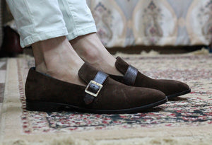 Bespoke Brown Loafer Suede Monk Strap Shoe for Men - leathersguru