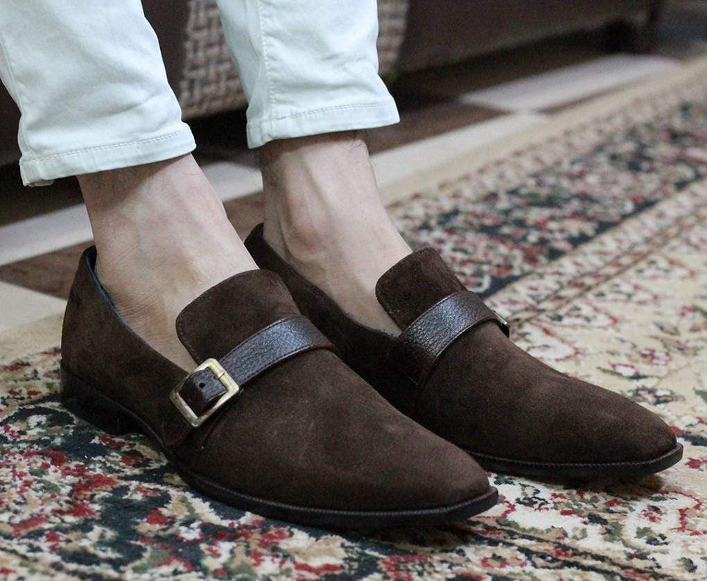 Men's Brown Monk Slip On Suede Men's Loafers - leathersguru