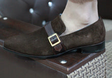Load image into Gallery viewer, Bespoke Brown Loafer Suede Monk Strap Shoe for Men - leathersguru