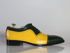 Handmade Men's Green Yellow Leather Cap Toe  Shoe - leathersguru