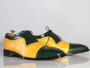 Bespoke Yellow Green Leather Cap Toe Lace Up Shoes for Men's - leathersguru