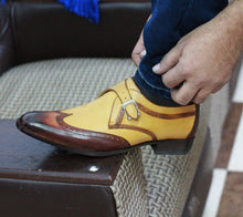 Load image into Gallery viewer, Bespoke Two Tan Leather Monk Strap Wing Tip Shoes for Men's - leathersguru