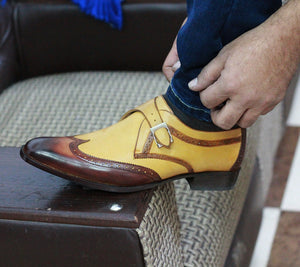 Bespoke Two Tan Leather Monk Strap Wing Tip Shoes for Men's - leathersguru