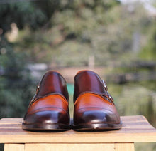 Load image into Gallery viewer, Handmade Tan Brown Leather Cap Toe Double Monk Shoes - leathersguru
