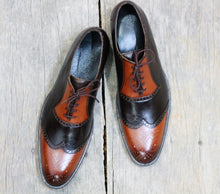 Load image into Gallery viewer, Bespoke Brown & Tan Leather Wing Tip Lace up Shoe for Men - leathersguru
