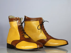 Bespoke Yellow & Brown Ankle Lace Up Boot for Men's - leathersguru