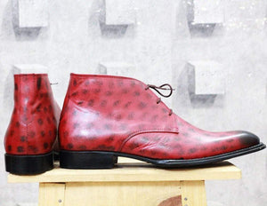 Handmade Burgundy Chukka boot For Men - leathersguru