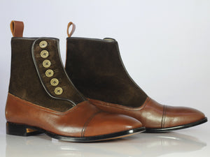 Bespoke Brown Leather Suede Button Top Ankle Cap Toe Boot - leathersguru