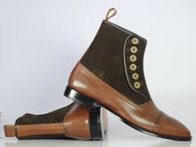 Load image into Gallery viewer, Bespoke Brown Leather Suede Button Top Ankle Cap Toe Boot - leathersguru