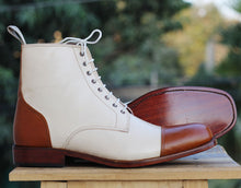 Load image into Gallery viewer, Bespoke White and Brown Leather High Ankle Lace Up Boots - leathersguru