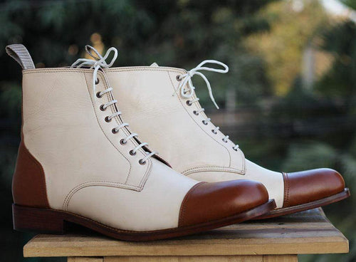 Men's Cream Brown Cap Toe Ankle Boots - leathersguru