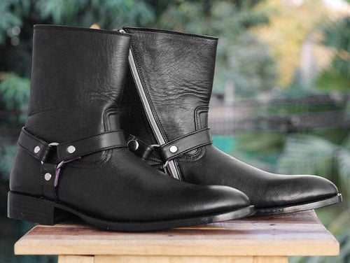 Handmade Black Ankle high Buckle Madrid Strap Boots - leathersguru