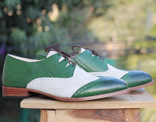 Load image into Gallery viewer, Bespoke Green & White Leather Suede Wing Tip Lace Up Shoe for Men's - leathersguru