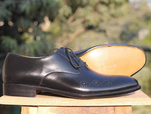 Handmade Black Brogue Leather Shoes - leathersguru