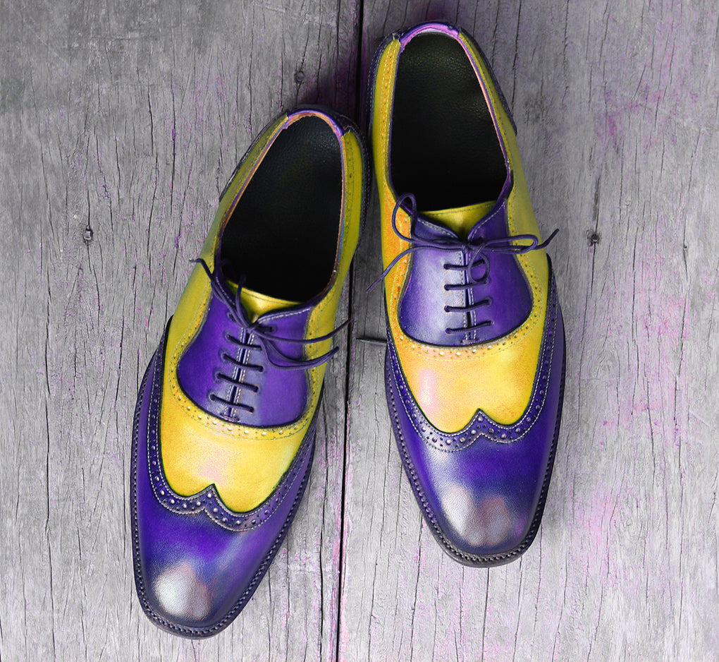 Bespoke Yellow & Blue Leather Wing Tip Lace Up Shoes for Men's - leathersguru