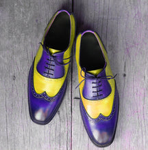 Load image into Gallery viewer, Bespoke Yellow & Blue Leather Wing Tip Lace Up Shoes for Men's - leathersguru