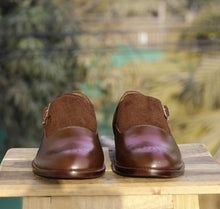 Load image into Gallery viewer, Bespoke Brown Suede Leather Monk Strap Shoe for Men - leathersguru