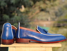 Load image into Gallery viewer, Bespoke Blue Tussle Leather Loafer for Men - leathersguru