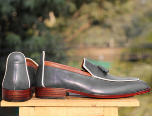 Bespoke Gray White Leather Tussle Loafer Shoe for Men - leathersguru