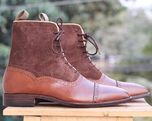 Handmade Brown Ankle Cap Toe Leather Boot For Men's - leathersguru