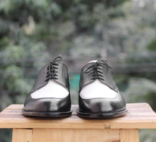 Load image into Gallery viewer, Handmade Black White Round Toe Shoe - leathersguru
