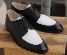 Load image into Gallery viewer, Bespoke Black & White Leather Lace Up Shoe for Men - leathersguru