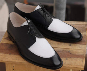 Handmade Black White Round Toe Shoe - leathersguru