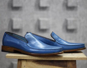 Handmade Blue Leather Loafers Shoe For Men's - leathersguru