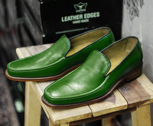Handmade Green Leather Loafers For Men's - leathersguru