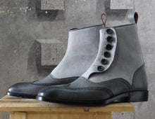 Load image into Gallery viewer, Men's Gray Button Top Wing Tip Leather Suede Boot - leathersguru