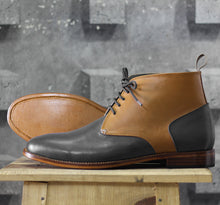 Load image into Gallery viewer, Bespoke Tan Black Chukka Leather Lace Up Boots - leathersguru