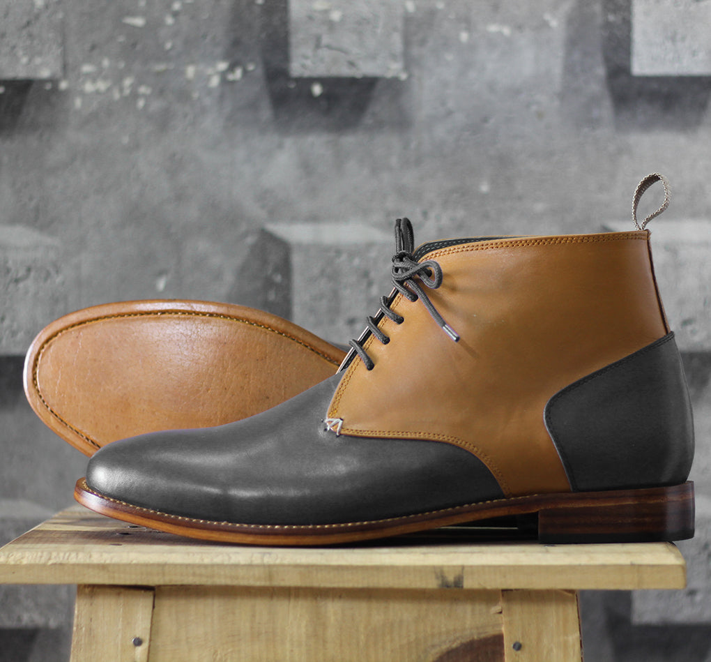 Bespoke Tan Black Chukka Leather Lace Up Boots - leathersguru