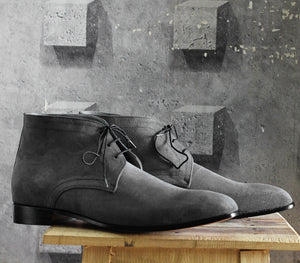 Bespoke Black Chukka Suede Lace Up Boots - leathersguru