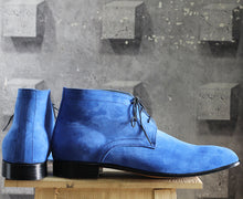 Load image into Gallery viewer, Bespoke Sky Blue Chukka Suede Lace Up Boots - leathersguru