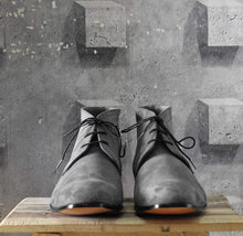 Load image into Gallery viewer, Handmade Gray Half Ankle Suede Lace Up Men's Boot - leathersguru