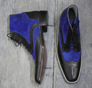 Bespoke Black Blue Leather Suede Ankle Wing Tip Lace Up Boots - leathersguru