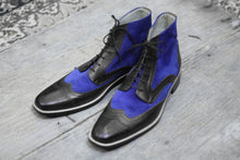 Load image into Gallery viewer, Bespoke Black Blue Leather Suede Ankle Wing Tip Lace Up Boots - leathersguru