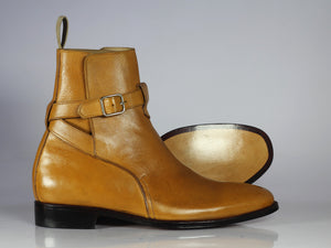 Handmade Tan Leather Jodhpurs Ankle Boot - leathersguru