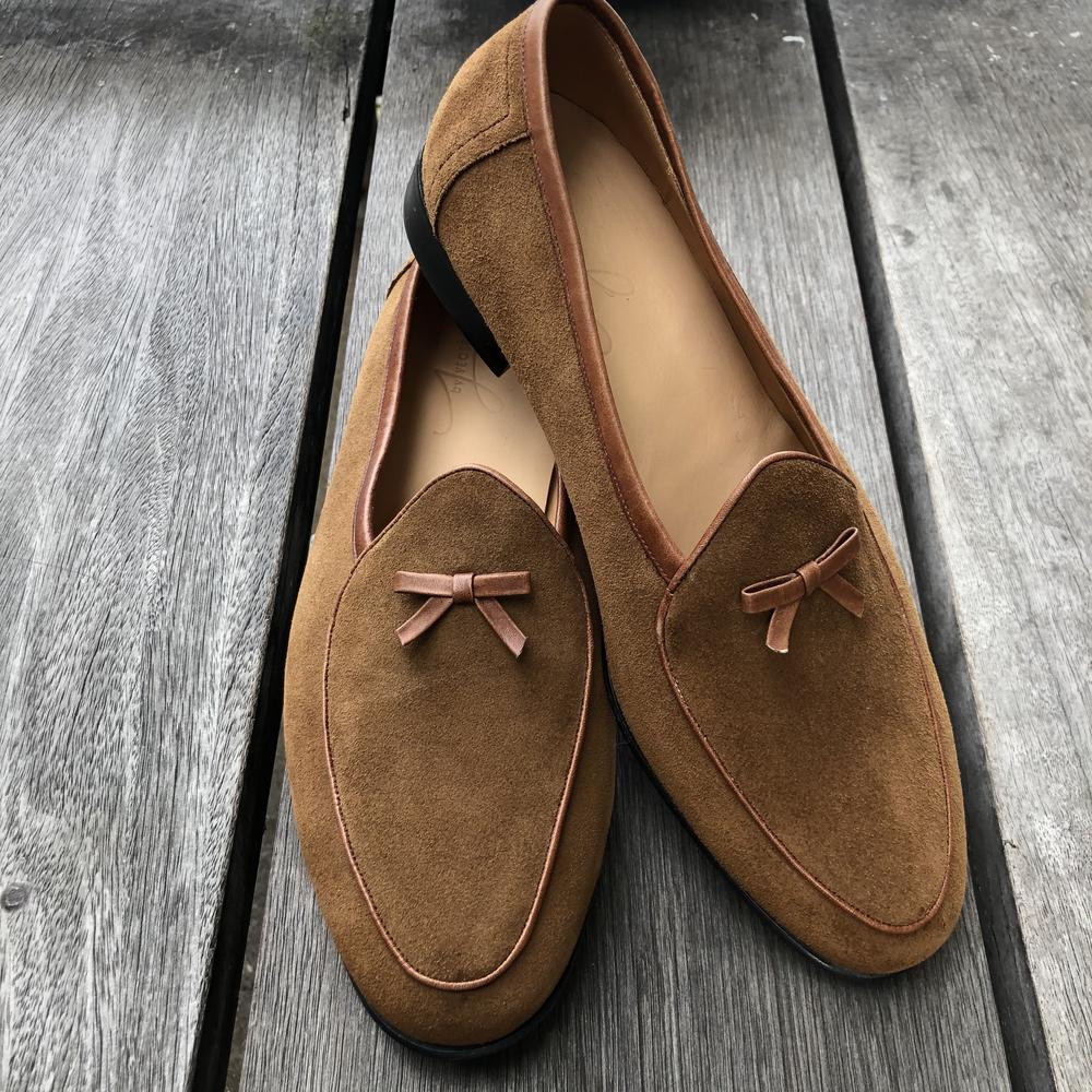 Bespoke Brown Round Toe Suede Tussle Loafer Shoes for Men - leathersguru