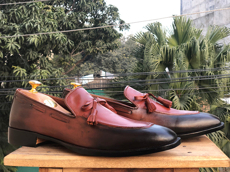 Bespoke Burgundy Black Tussle Loafer Leather Shoe for Men - leathersguru
