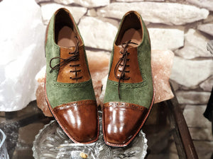 Handmade Men's Brown Green Leather Suede  Cap Toe Shoes - leathersguru
