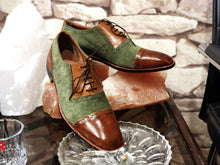 Load image into Gallery viewer, Handmade Men's Brown Green Leather Suede  Cap Toe Shoes - leathersguru