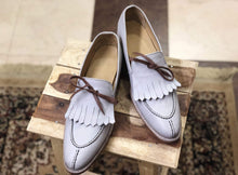 Load image into Gallery viewer, Handmade Men's White Leather Split Toe Fringe Shoes - leathersguru